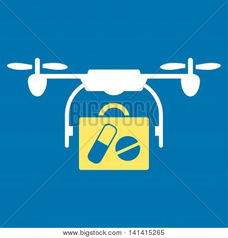 Medical Drone Shipment vector icon. Style is bicolor flat symbol, yellow and white colors, rounded angles, blue background.