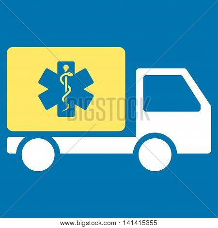 Medical Shipment vector icon. Style is bicolor flat symbol, yellow and white colors, rounded angles, blue background.
