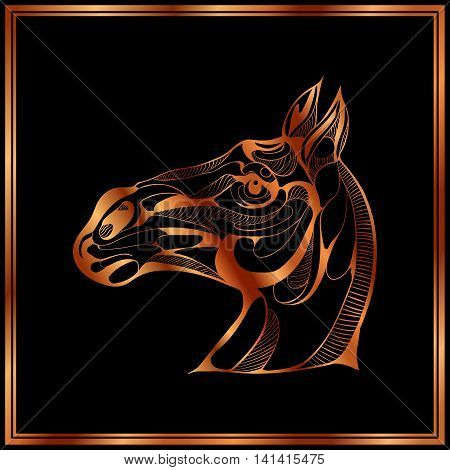 Vector image of a bronze horse on black background.