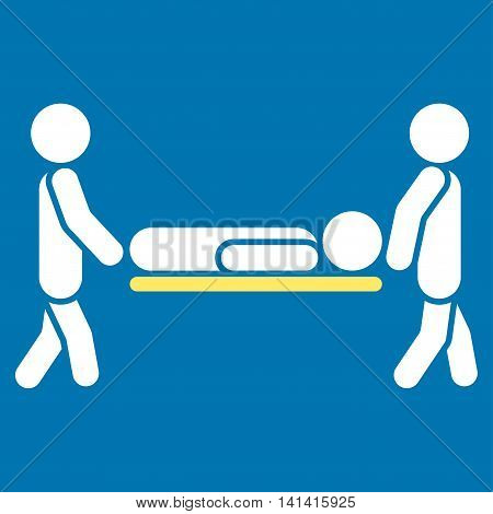 Patient Stretcher vector icon. Style is bicolor flat symbol, yellow and white colors, rounded angles, blue background.