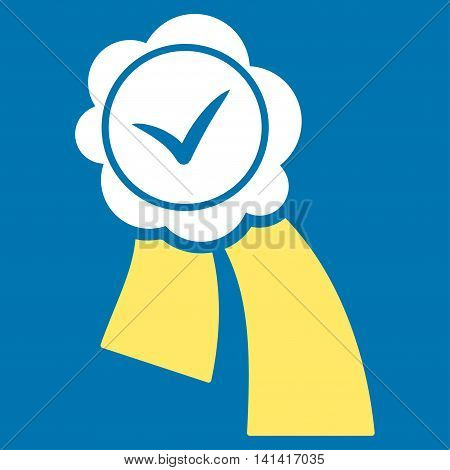 Validation Seal vector icon. Style is bicolor flat symbol, yellow and white colors, rounded angles, blue background.