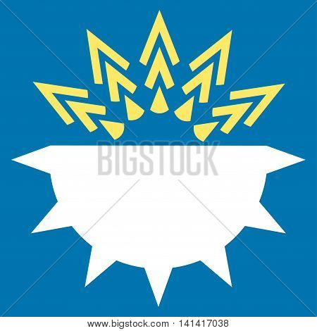 Viral Structure vector icon. Style is bicolor flat symbol, yellow and white colors, rounded angles, blue background.