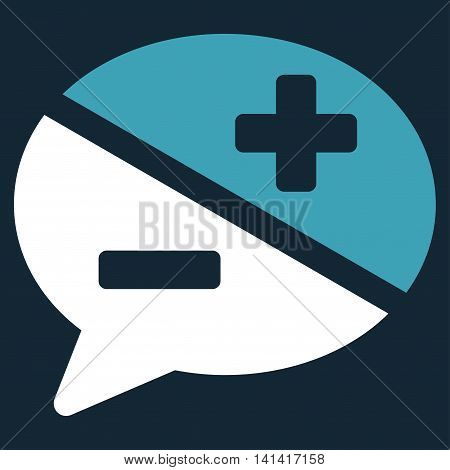 Arguments vector icon. Style is bicolor flat symbol, blue and white colors, rounded angles, dark blue background.