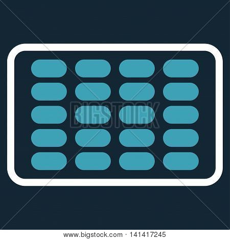 Blister vector icon. Style is bicolor flat symbol, blue and white colors, rounded angles, dark blue background.