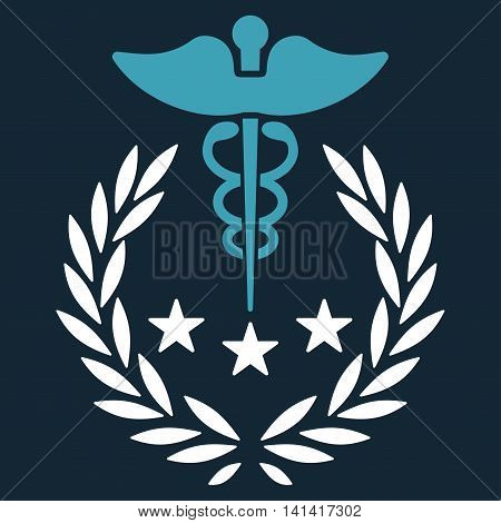 Caduceus Logo vector icon. Style is bicolor flat symbol, blue and white colors, rounded angles, dark blue background.