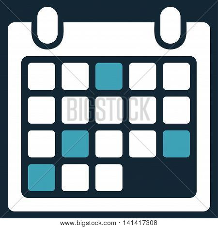Calendar Appointment vector icon. Style is bicolor flat symbol, blue and white colors, rounded angles, dark blue background.