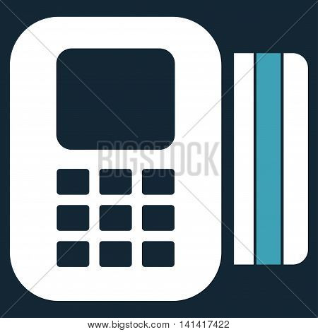 Card Processor vector icon. Style is bicolor flat symbol, blue and white colors, rounded angles, dark blue background.