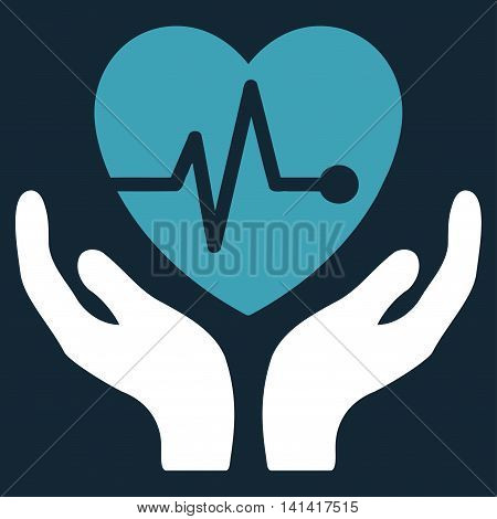 Cardiology vector icon. Style is bicolor flat symbol, blue and white colors, rounded angles, dark blue background.