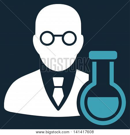 Chemist vector icon. Style is bicolor flat symbol, blue and white colors, rounded angles, dark blue background.