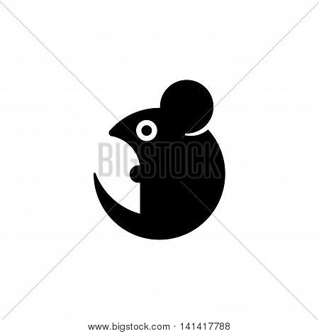 Simple stylized cartoon mouse icon. Geometric rat silhouette vector illustration.