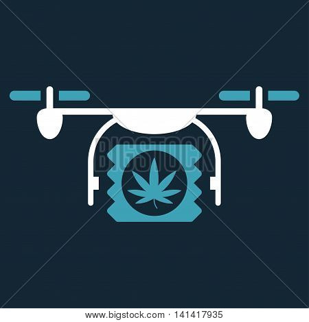 Drugs Drone Shipment vector icon. Style is bicolor flat symbol, blue and white colors, rounded angles, dark blue background.