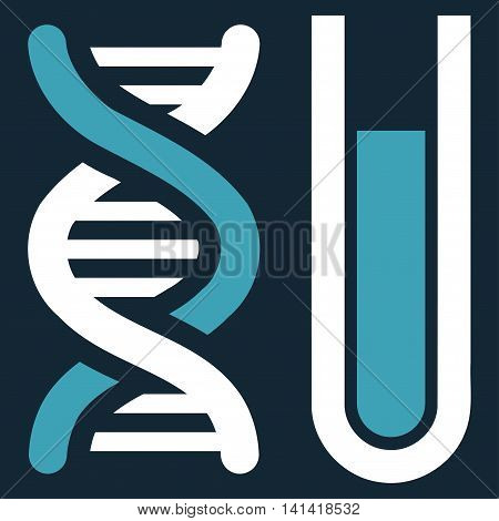 Genetic Analysis vector icon. Style is bicolor flat symbol, blue and white colors, rounded angles, dark blue background.