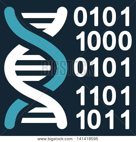 Genome Code vector icon. Style is bicolor flat symbol, blue and white colors, rounded angles, dark blue background.