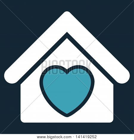 Hospice vector icon. Style is bicolor flat symbol, blue and white colors, rounded angles, dark blue background.