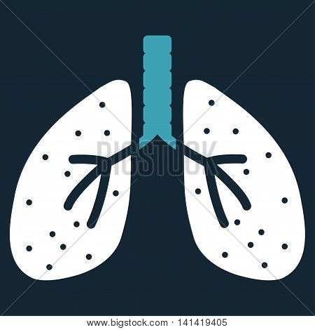 Lungs vector icon. Style is bicolor flat symbol, blue and white colors, rounded angles, dark blue background.