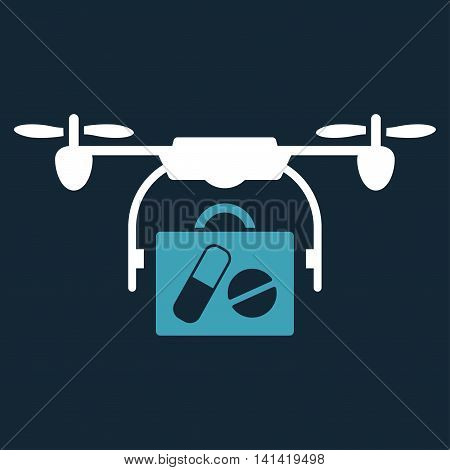 Medical Drone Shipment vector icon. Style is bicolor flat symbol, blue and white colors, rounded angles, dark blue background.