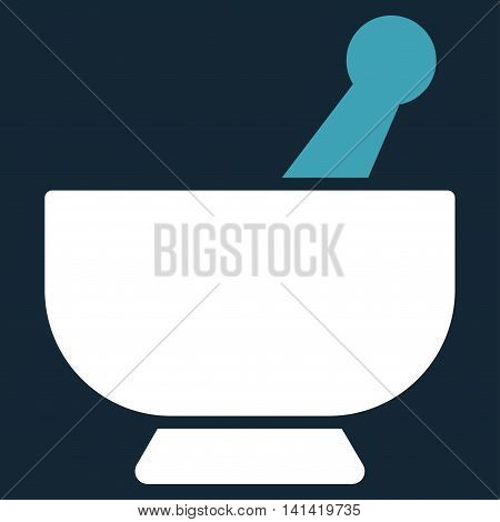 Mortar vector icon. Style is bicolor flat symbol, blue and white colors, rounded angles, dark blue background.
