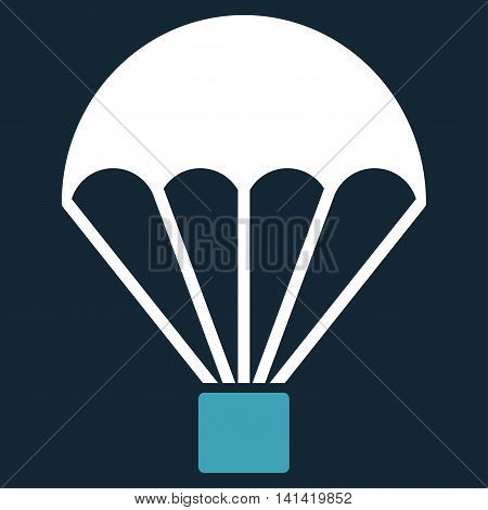 Parachute vector icon. Style is bicolor flat symbol, blue and white colors, rounded angles, dark blue background.