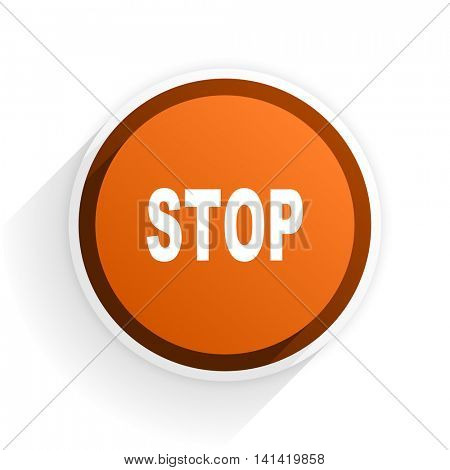 stop flat icon with shadow on white background, orange modern design web element