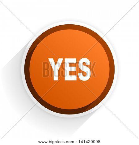 yes flat icon with shadow on white background, orange modern design web element
