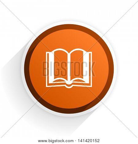 book flat icon with shadow on white background, orange modern design web element
