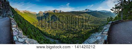 Panorama Overlooking Valley Below Logan Pass