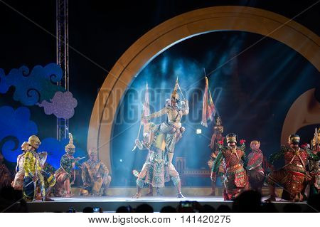 BANGKOK ,THAILAND - APRIL 21, 2015 : Khon is traditional dance drama art of Thai classical masked, this performance is Ramayana epic, the show is open The 233 rd Year of Rattanakosin City in Bangkok, Thailand.