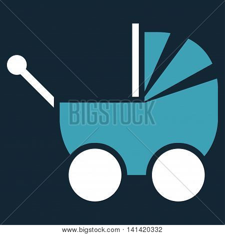 Pram vector icon. Style is bicolor flat symbol, blue and white colors, rounded angles, dark blue background.