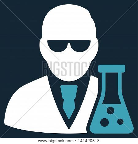 Scientist With Flask vector icon. Style is bicolor flat symbol, blue and white colors, rounded angles, dark blue background.