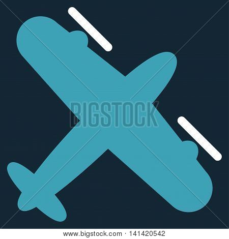 Screw Aeroplane vector icon. Style is bicolor flat symbol, blue and white colors, rounded angles, dark blue background.