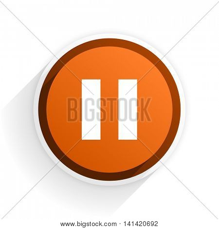 pause flat icon with shadow on white background, orange modern design web element
