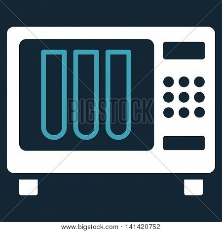 Sterilizer vector icon. Style is bicolor flat symbol, blue and white colors, rounded angles, dark blue background.