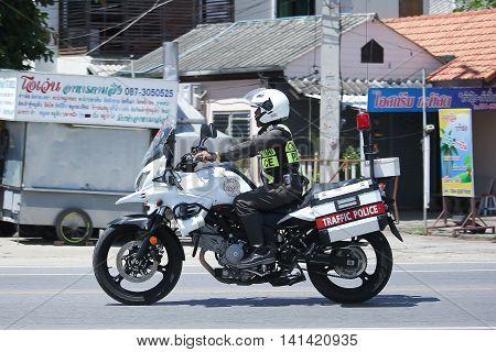 CHIANGMAI THAILAND -JULY 27 2016: Motorbike and Police Chiangmai Traffic Police. On road no.1001 8 km from Chiangmai Business Area.