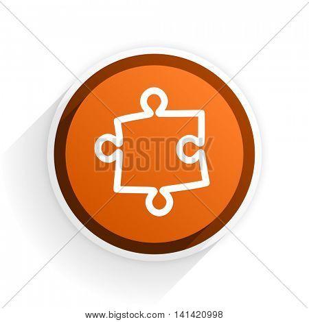 puzzle flat icon with shadow on white background, orange modern design web element