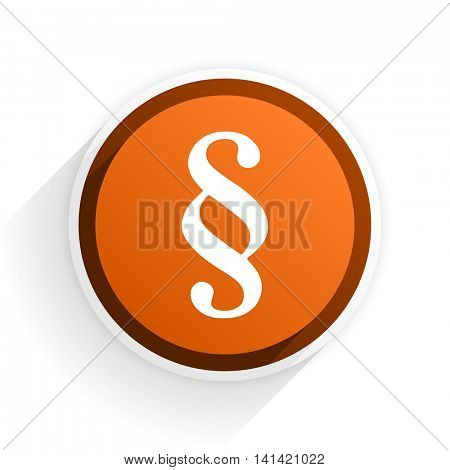 paragraph flat icon with shadow on white background, orange modern design web element