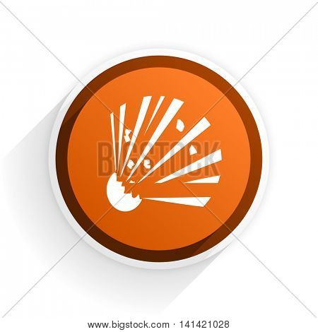 bomb flat icon with shadow on white background, orange modern design web element