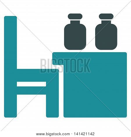 Apothecary Table vector icon. Style is bicolor flat symbol, soft blue colors, rounded angles, white background.