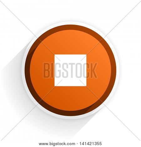 stop flat icon with shadow on white background, orange modern design web element