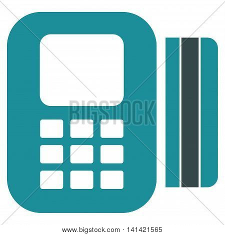 Card Processor vector icon. Style is bicolor flat symbol, soft blue colors, rounded angles, white background.