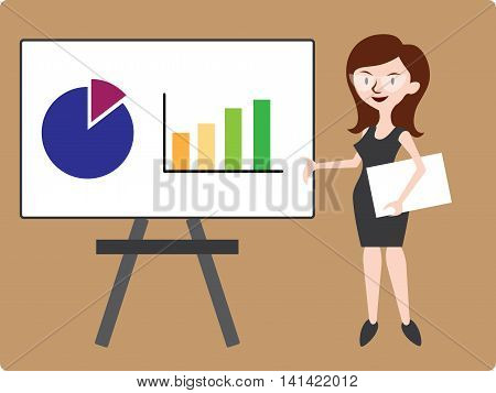 Illustration of a business woman in dress showing graphs on the whiteboard desk