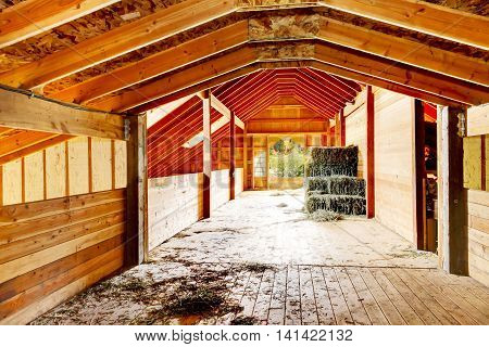 Hay Under Covered Roof At The Farm Barn In Washington State, Us