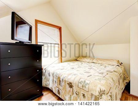 Simple Attic Bedroom Interior. Horse Ranch In Washington State