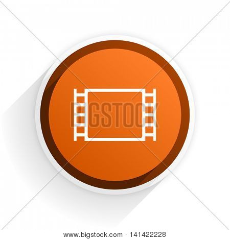 movie flat icon with shadow on white background, orange modern design web element