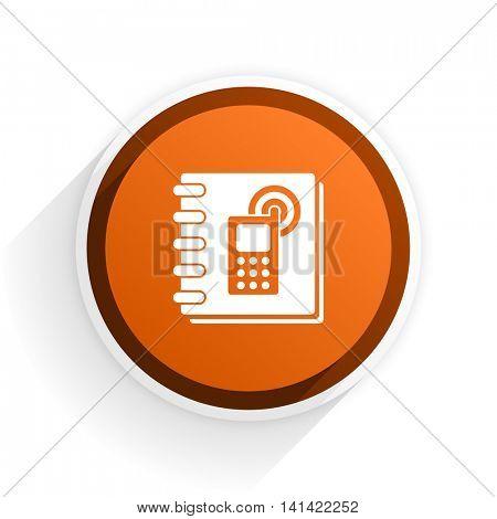 phonebook flat icon with shadow on white background, orange modern design web element