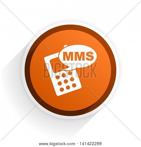 mms flat icon with shadow on white background, orange modern design web element
