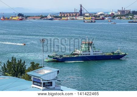 Labuan,Malaysia-Aug 4,2016:Ferry vehicles & passengers ferry on sailing from Labuan Island to Menumbok,Sabah.Long proposed bridge between the Sabah mainland & Labuan island still pending for outcome
