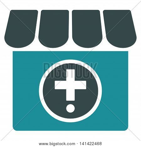 Drugstore vector icon. Style is bicolor flat symbol, soft blue colors, rounded angles, white background.