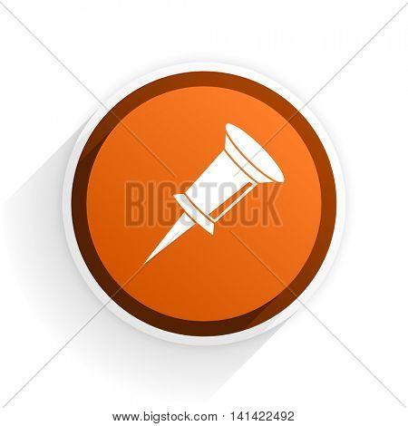 pin flat icon with shadow on white background, orange modern design web element