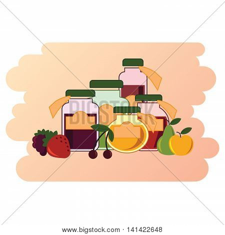 Illustration of a group of jam jars standing with different fruits