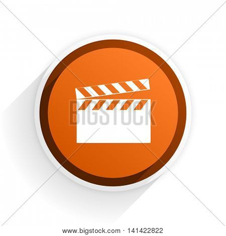 video flat icon with shadow on white background, orange modern design web element